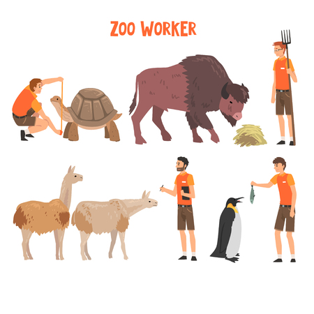 Zoo Workers or Veterinarians Examining, Feeding and Caring of Animals, Professional Zookeepers Characters Working at Zoo Vector Illustration on White Background.