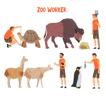 Trabajadores del zoológico o veterinarios que examinan, alimentan y cuidan de los animales, personajes profesionales de los cuidadores del zoológico que trabajan en la ilustración del vector del zoológico sobre fondo blanco.
