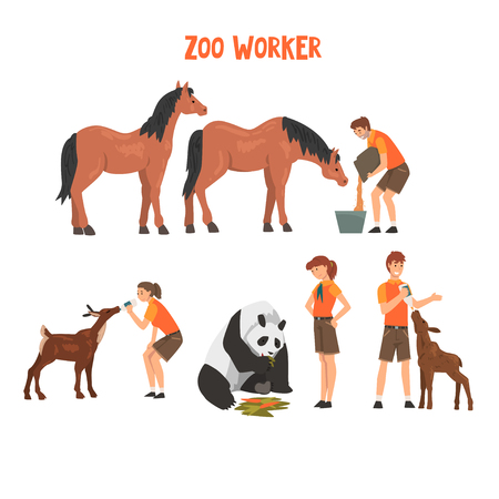 Zoo Workers Feeding and Caring of Animals, Professional Zookeepers Characters Vector Illustration 일러스트