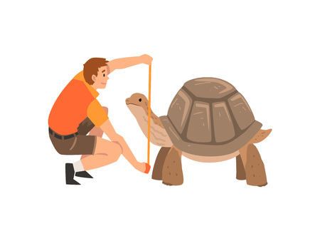 Zoo Worker or Veterinarian Examining and Measuring Turtle, Professional Zookeeper Character Caring of Animal Vector Illustration on White Background.