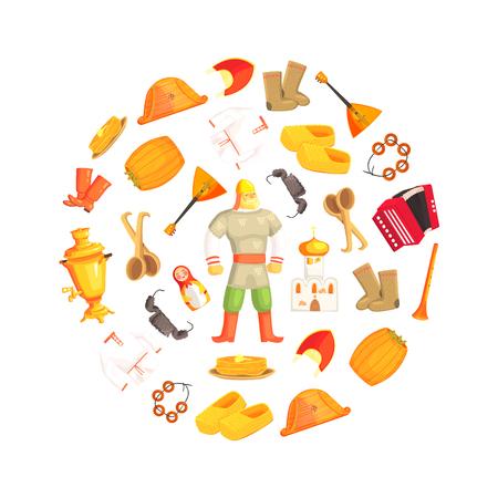 Russian Culture Signs and Symbols in Circular Shape, Russian Hero, Cathedral, Balalaika, Samovar, Basts, Matryoshka, Accordion, Harp, Kokoshnik, Pancakes Vector Illustration