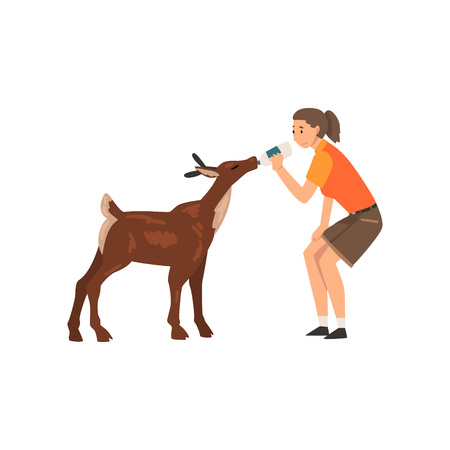Girl Zoo Worker Feeding Baby Deer with Bottle of Milk, Professional Zookeeper Character Caring of Animal Vector Illustration Reklamní fotografie - 122807910