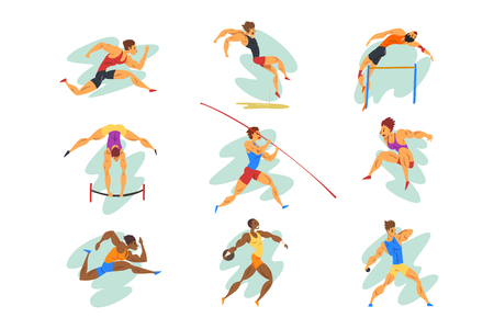 Flat vector set of professional athletes in different actions. Young muscular guys in sportswear. Active people. Foto de archivo - 122807913