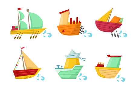 Collection of colorful wooden ships with cute faces. Small sailing boats. Marine theme. Graphic element for children room decor or mobile game. Flat vector icons isolated on transparent background. Çizim