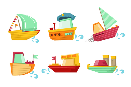 Set of marine vessels with adorable faces. Small wooden ships and sailing boats. Elements for children book or mobile game. Colorful flat vector illustrations isolated on transparent background.
