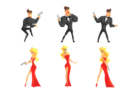 Secret agents in different poses. Handsome man and beautiful woman with gun in hands. Male in black suit, female in red dress. Flat vector set