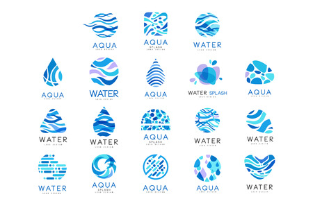 Flat vector set of original aqua icons. Abstract blue emblems for water delivery companies. Elements for advertising poster or banner Vetores