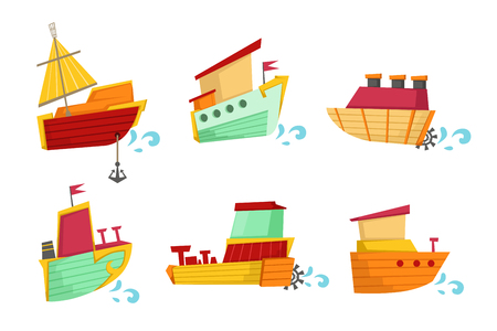 Cartoon collection of small wooden boats with cute faces. Sea transport. Graphic elements for children book, poster or mobile game. Colorful flat vector illustrations isolated on white background. 版權商用圖片 - 128163522