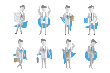 Flat vector set of businessman in different actions. Man carrying stack of paper, holding clipboard, walking with briefcase