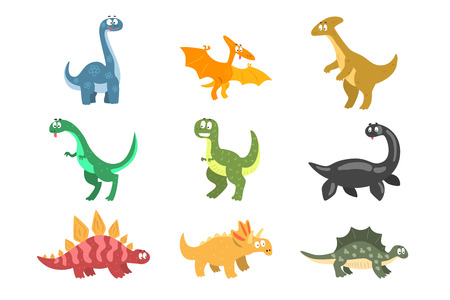 Flat vector set of cartoon dinosaurs. Funny animals of Jurassic period. Elements for postcard, children book, sticker or mobile game Illustration