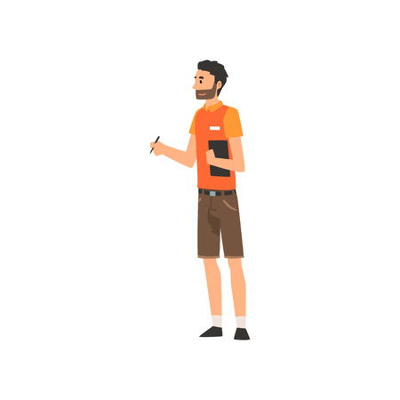 Zoo Worker or Veterinarian, Professional Zookeeper Character Caring of Animals Vector Illustration on White Background.