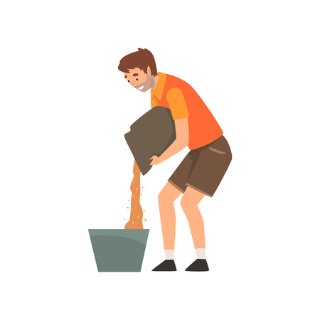 Zoo Worker Pouring Grain in Bucket, Professional Zookeeper Character Caring of Animals Vector Illustration on White Background.