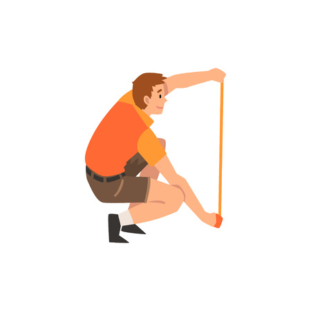 Zoo Worker or Veterinarian with Measuring Tape, Professional Zookeeper Character Caring of Animal Vector Illustration on White Background. Illustration
