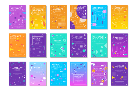 Vector set of 9 posters with different geometric shapes and place for your text. Good for brochure, cover, flyer or banner Stok Fotoğraf - 122807930