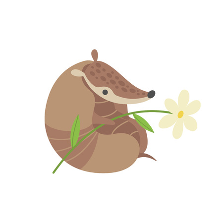 Cute Armadillo with Flower, Adorable Pleistocene Animal Cartoon Character Vector Illustration Illusztráció