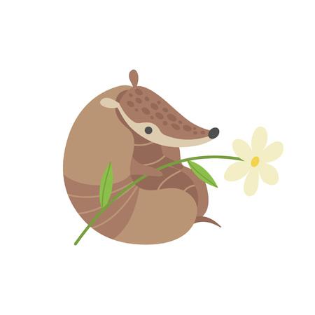 Cute Armadillo with Flower, Adorable Pleistocene Animal Cartoon Character Vector Illustration Illustration