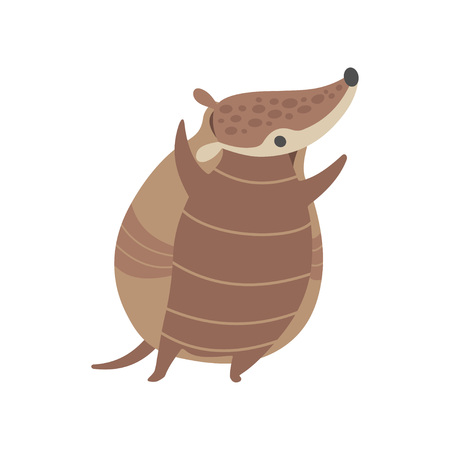 Cute Happy Armadillo Pleistocene Animal Cartoon Character Vector Illustration