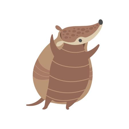 Cute Happy Armadillo Pleistocene Animal Cartoon Character Vector Illustration