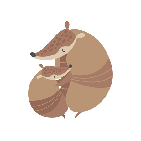 Mother Armadillo Hugging Its Baby, Adorable Pleistocene Animals Cartoon Characters Vector Illustration