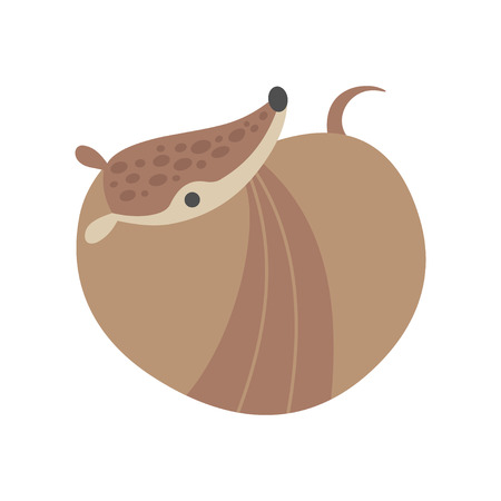 Cute Armadillo Curled Up and Resting, Adorable Pleistocene Animal Cartoon Character Vector Illustration