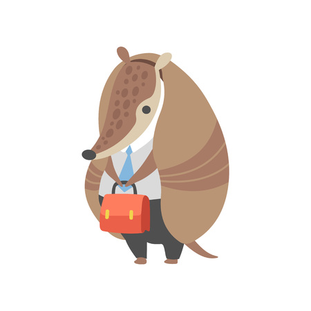 Armadillo Businessman Standing with Briefcase Wearing Business Clothes, Office Worker, Pleistocene Animal Cartoon Character Vector Illustration