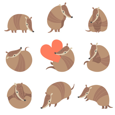 Collection of Cute Adorable Armadillos Pleistocene Animals in Various Poses Vector Illustration