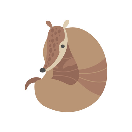 Cute Armadillo Adorable Pleistocene Animal Resting Cartoon Vector Illustration