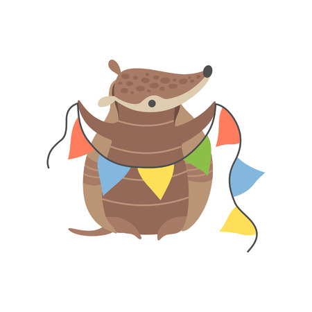 Cute Armadillo Holding Party Flags, Adorable Pleistocene Animal Cartoon Character at Party Vector Illustration
