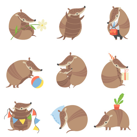 Cute Armadillos Set, Adorable Pleistocene Animals Cartoon Characters in Various Situations Vector Illustration