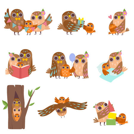 Happy Family of Owls Set, Father, Mother and Their Baby, Cute Cartoon Birds Characters Vector Illustration on White Background. Illustration