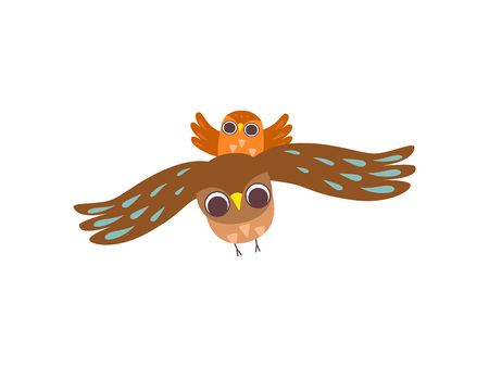 Father Owl and His Owlet Flying Together, Happy Family of Owls, Father, Cute Cartoon Birds Characters Vector Illustration on White Background.