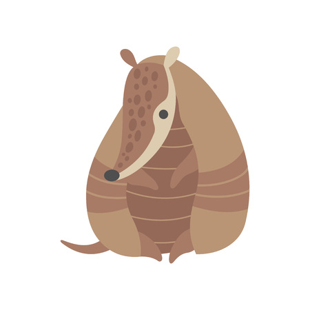 Adorable Armadillo Pleistocene Animal Cartoon Character Standing on Two Legs Vector Illustration