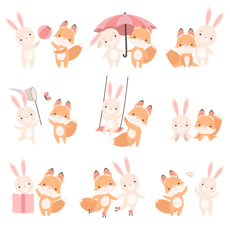 Lovely White Little Bunny and Fox Cub Playing Together Set, Cute Best Friends, Adorable Rabbit and Pup Cartoon Characters Vector Illustration Stock Illustratie