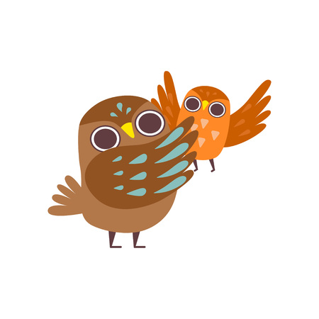 Father Owl and His Baby, Happy Family of Owls, Cute Cartoon Birds Characters Vector Illustration Stock Illustratie