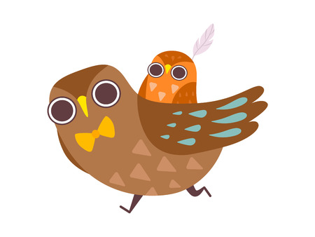Father Owl Carrying His Baby on His Back, Happy Family of Owls, Father, Cute Cartoon Birds Characters Vector Illustration on White Background. Banque d'images - 122498001