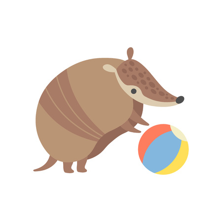 Cute Armadillo Playing with Ball, Adorable Pleistocene Animal Cartoon Character Vector Illustration Illusztráció
