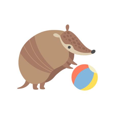 Cute Armadillo Playing with Ball, Adorable Pleistocene Animal Cartoon Character Vector Illustration Illustration