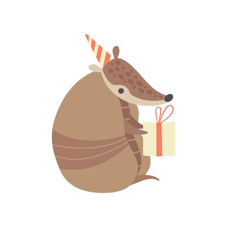 Cute Armadillo in Party Hat Holding Gift Box, Adorable Pleistocene Animal Cartoon Character Celebrating Birthday Vector Illustration