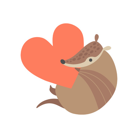 Cute Armadillo Holding Big Red Heart, Adorable Pleistocene Animal Cartoon Character Vector Illustration
