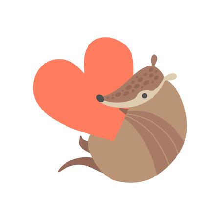 Cute Armadillo Holding Big Red Heart, Adorable Pleistocene Animal Cartoon Character Vector Illustration