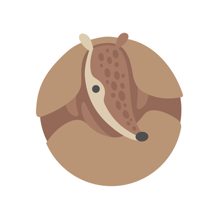 Cute Armadillo Curled Up, Adorable Pleistocene Animal Cartoon Character Vector Illustration Illustration