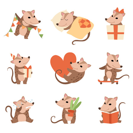 Cute Opossums Set, Adorable Wild Animals Cartoon Characters in Various Situations Vector Illustration on White Background.