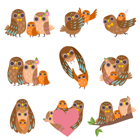 Family of Owls Set, Father, Mother and Their Baby, Cute Cartoon Birds Characters Vector Illustration on White Background.
