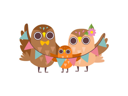 Happy Family of Owls, Father, Mother and Their Owlet Baby, Cute Cartoon Birds Characters Vector Illustration on White Background. Illustration