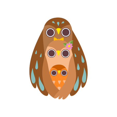 Happy Family of Owls, Father, Mother and Their Baby Standing One After Another, Cute Cartoon Birds Characters Vector Illustration on White Background. Çizim