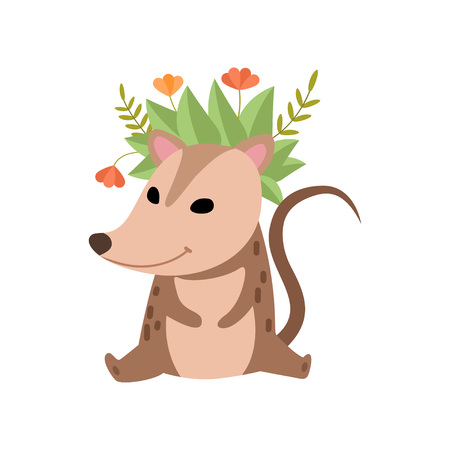 Cute Opossum Wearing Wreath of Flowers, Adorable Wild Animal Cartoon Character Vector Illustration on White Background.