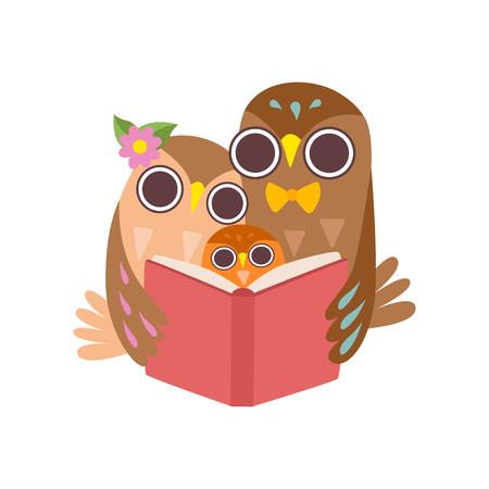 Ojciec sowa czytanie książki do jego Owlet, szczęśliwa rodzina sów, kreskówka ptaki znaków wektor ilustracja na białym tle.