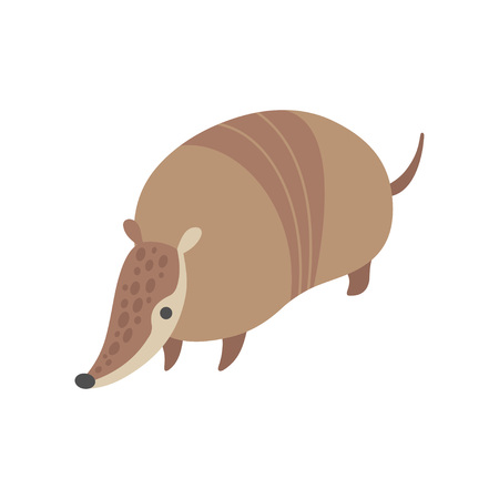 Cute Armadillo, Adorable Pleistocene Animal Cartoon Vector Illustration Illusztráció