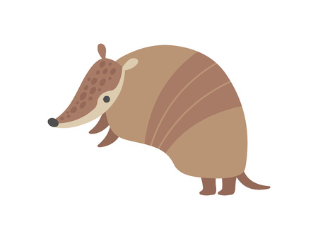 Cute Adorable Armadillo Pleistocene Animal Cartoon Character Vector Illustration