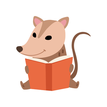 Cute Opossum Sitting and Reading Book, Adorable Wild Animal Cartoon Character Vector Illustration on White Background.